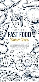 Fast-food griffonnages menu bannière verticale