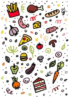 Fast food griffonne des symboles et des objets vectoriels colorés dessinés à la main