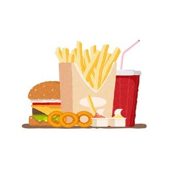 Fast food hamburger frites et soda dans un verre