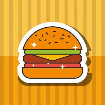 Fast food hamburger viande tomate et letucce