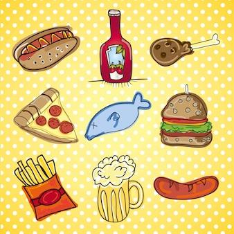Fast food icons collection de vecteur de collations