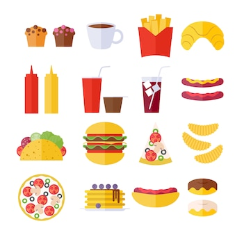 Fast-food icons set - style plat.