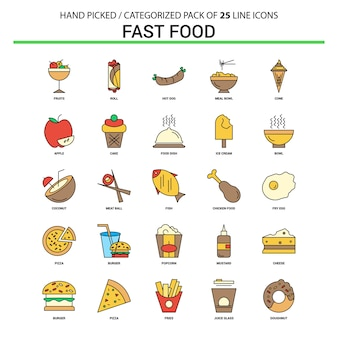 Fast food ligne plate icon set