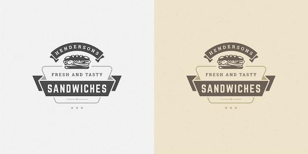 Fast-food logo vector illustration silhouette sandwich bon pour le menu du restaurant et l'insigne de café