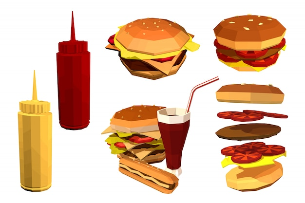 Fast food low poly sur un blanc.