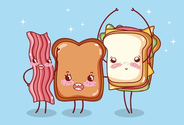 Fast-food et petit déjeuner mignon pain sandwich et bacon cartoon