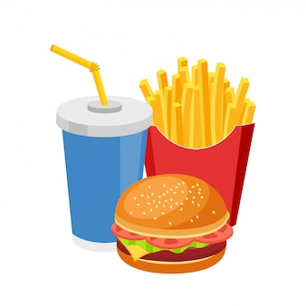 Fast food repas hamburger coloré frites et soda isolated on white
