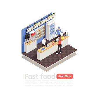 Fast-food restaurant composition isométrique avec le personnel de service en uniforme à la caisse enregistreuse et femme commandant manger