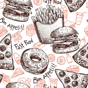 Fast food seamless pattern