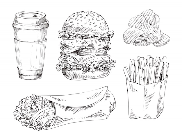 Fast-food set esquisse monochrome de vecteur dessiné à la main