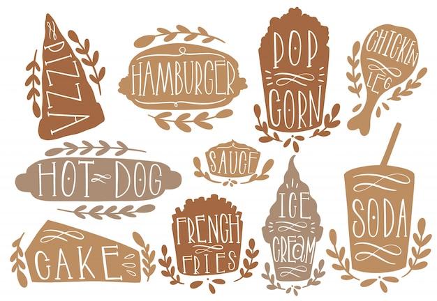 Fastfood set illustration vectorielle. forme de texte