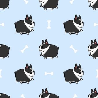 Fat boston terrier chien marche modèle sans couture de dessin animé