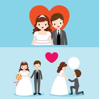 Fat bride and groom avec diverses actions dans l'ensemble de vêtements de mariage