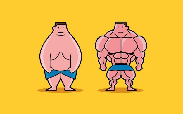 Fat et fit personnage de dessin animé
