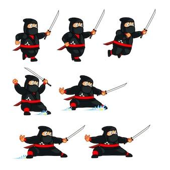 Fat ninja carton animation sprite