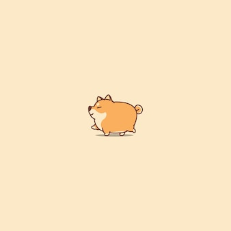 Fat shiba inu chien marchant icône de dessin animé