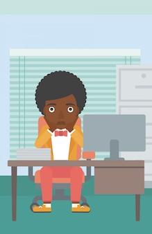 Fatigué, femme, séance, bureau
