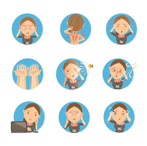 Fatigue oculaire. infographie, graphique, graphique, données, informations, étapes