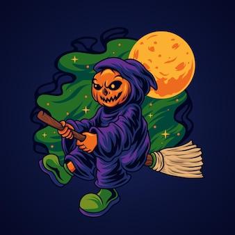 La faucheuse d'halloween chevauchant un balai