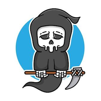 Faucheuse mignonne tenant le concept d'halloween d'illustration vectorielle de faux dessin animé