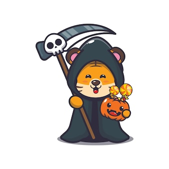 Faucheuse de tigre mignon tenant une citrouille d'halloween illustration de dessin animé mignon d'halloween
