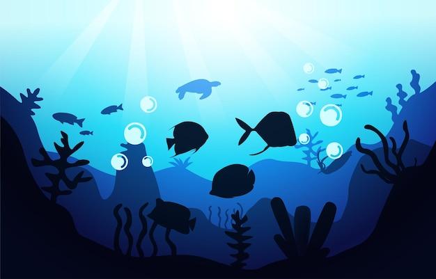Faune poisson corail mer océan sous l'eau aquatique plat illustration