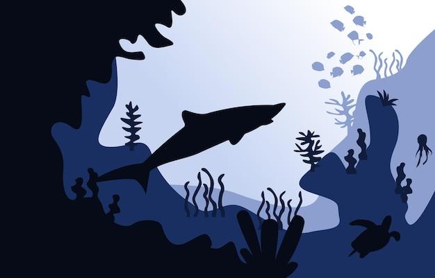 Faune, requin, poisson, mer, océan, sous-marin, aquatique, plat, illustration