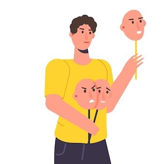 Fausse émotion, jouez un concept de rôle. le personnage tient des masques avec différentes émotions. illustration vectorielle, style plat