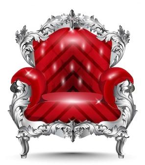Fauteuil baroque en argent ornement. mobilier vintage riche décor sculpté. revêtement rouge vect