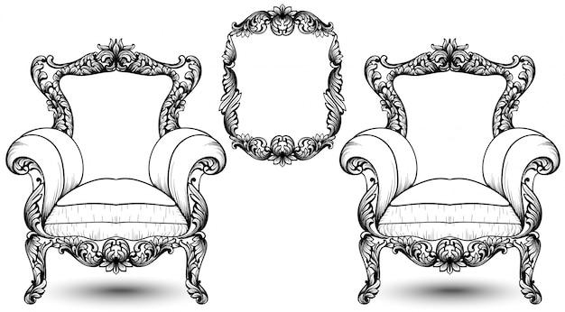 Fauteuil baroque élégant et cadre sur fond blanc