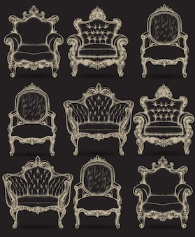 Fauteuil baroque riche collection de structure complexe