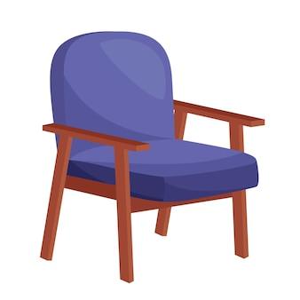 Fauteuil bleu confortable sur fond blanc, illustration vectorielle