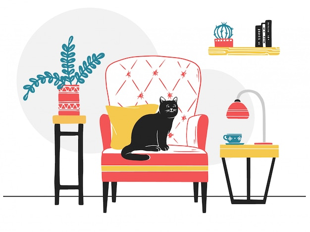 Fauteuil, chat sur la chaise.