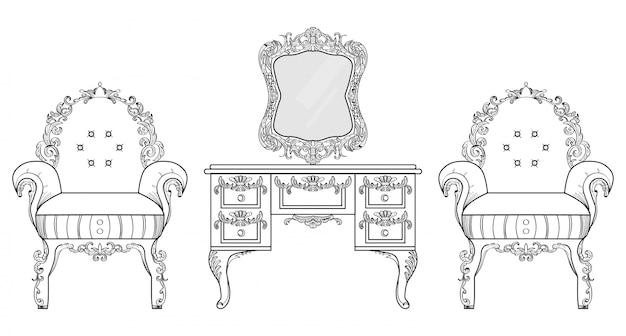 Fauteuil et coiffeuse avec des ornements luxueux. vector french luxury structure complexe riche. décor de style victorien royal