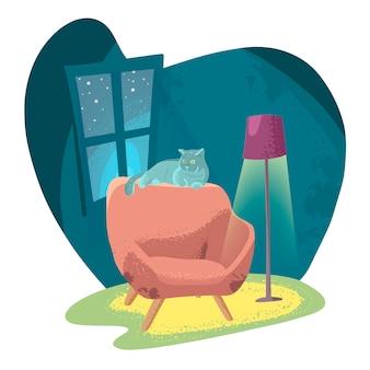 Fauteuil confortable dans une pièce sombre avec une lampe de sol et un chat.