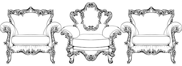 Fauteuil élégant baroque sur fond blanc