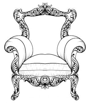 Fauteuil élégant baroque isolé sur fond blanc