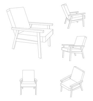Fauteuil lounge vector isolé sur blanc