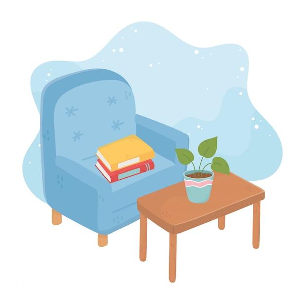 Fauteuil maison douce avec des livres en pot sur table