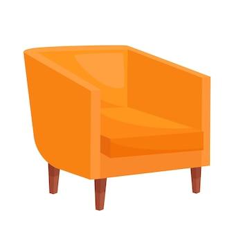Fauteuil orange confortable sur fond blanc, illustration vectorielle
