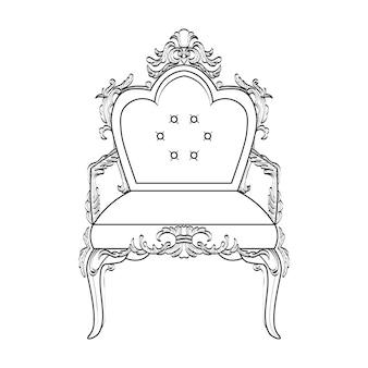 Fauteuil avec des ornements luxueux. vector french luxury structure complexe riche. décor de style victorien royal