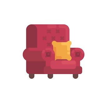 Fauteuil rouge confortable avec coussin orange. illustration plat de meubles de maison