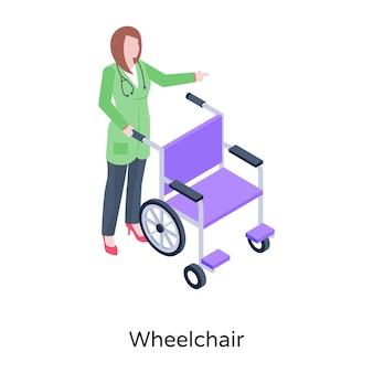 Fauteuil roulant une aide à la mobilité pour les personnes handicapées vecteur isométrique