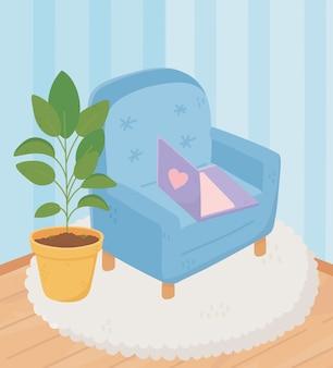 Fauteuil sweet home avec ordinateur portable en pot sur tapis