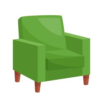 Fauteuil vert confortable sur fond blanc, illustration vectorielle