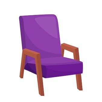 Fauteuil violet vif sur fond blanc, illustration vectorielle
