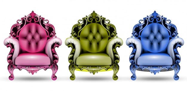 Fauteuils baroques colorés