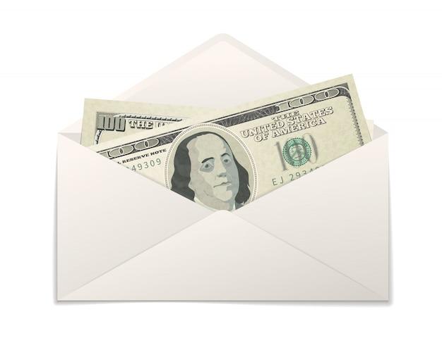 Faux deux billets de cent dollars américains dans une enveloppe en papier blanc sur blanc