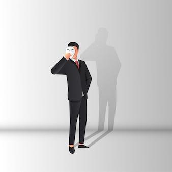 Faux homme d'affaires portant le concept de masque