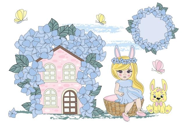 Fée clipart hare girl couleur vector illustration